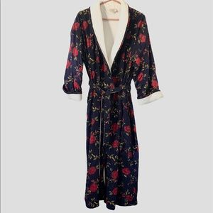 Vintage Terrycloth Lined Long Floral Rose Robe, S